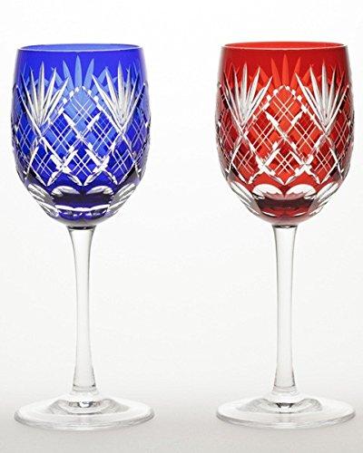 Japanese Paired Wine Glass of Edo-Kiriko (Cut Glass) Ken-yarai Pattern