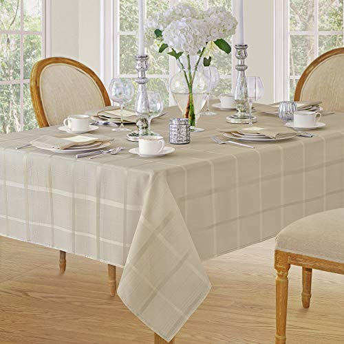 Elegance Plaid Contemporary Woven Solid Decorative Tablecloth by Newbridge, Polyester, No Iron, Soil Resistant Holiday Tablecloth,  60 X 84 Oblong, Beige