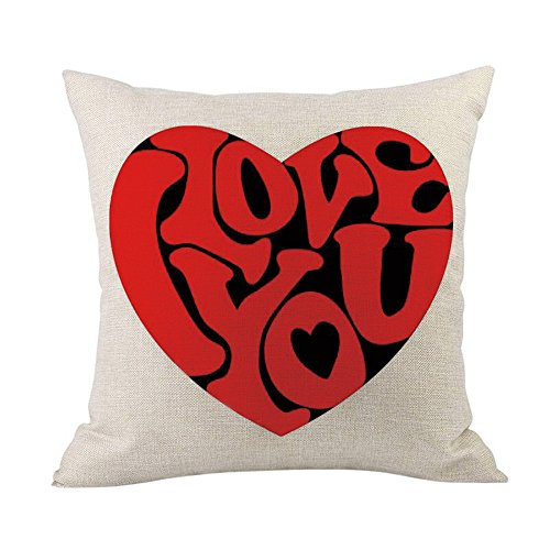 iYBUIA Happy Valentine Square Cotton Linen Pillow Cases 4545cm Sofa Cushion Cover Home Decor ()