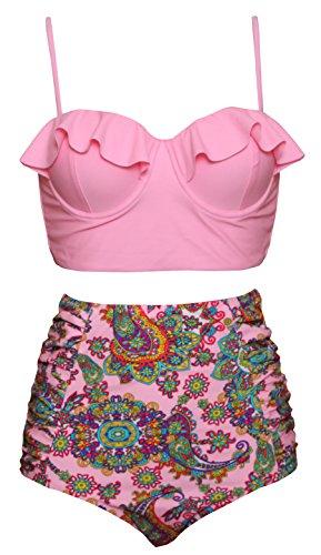 Vintage High Waist Bikini Set Strappy Push up Retro Polka Dot Red Swimsuit-PKF2