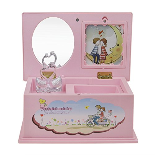 Insertable Box (Pink Cute Swan Rotating Musical Jewelry Box Photo Insertable Mirror Music Box Chest Organizer Christmas Gift for Girls Child)