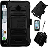 ALCATEL STREAK (Cricket) Case; ALCATEL IDEAL 4G LTE (4060a) GoPhone Case, Phonelicious® Xtreme Heavy Duty Hybrid Dual Layer Kickstand Belt Holster Clip Combo Rugged Tuff+ Stylus (BLACK EXTREME)