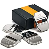 DEMILLO Stainless Steel Car Door Lock Latches Cover Protector for Mercedes GLK-Class,S-Class Maybach,A/C/CLA/GLA/G/M/S/SL-Class AMG, 3M Adhesive Backing( Pack of 4) (silver)