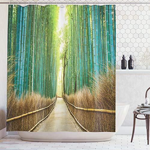 Ambesonne Bamboo Forest in Japan Collection, Panoramic View of Historic Landscape Park Photography Print, Polyester Fabric Bathroom Shower Curtain Set with Hooks, Light Green Peru