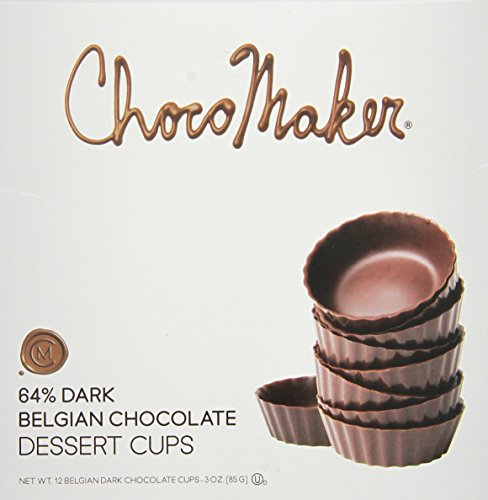 ChocoMaker 64% Dark Belgian Chocolate Dessert Cups (Pack of 2) 12 Count Boxes