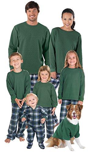PajamaGram Flannel Tartan Plaid Matching Family Pajama Set, Green