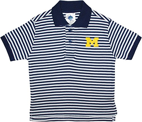 University of Michigan Wolverines Striped Polo Shirt by Creative Knitwear, Navy/White, 3T (Michigan Striped Shirt)