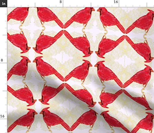 - Spoonflower Cardinal Fabric - Minuet Red White Bird Modern Home Decor Hand Drawn Colored Pencil Drawing Print on Fabric by The Yard - Denim for Sewing Bottomweight Apparel Home Decor Upholstery
