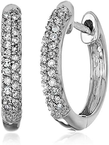 10k Rose Gold Diamond Hoop Earrings (1/10cttw, I-J Color, I2-I3 Clarity)