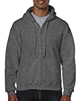 Gildan Men's Fleece Zip Hooded Sweatshirt Dark Heather Large