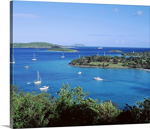 Canvas On Demand Premium Thick-Wrap Canvas Wall Art Print entitled US Virgin Islands, St. John, Caneel Bay, High angle view of boats in the sea - Caneel Bay