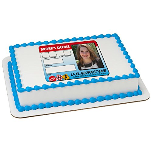Drivers License Edible Frame Add your Own Picture Frosting Birthday Image 1/4 sheet Cake Topper