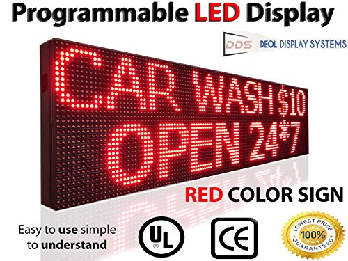 "Outdoor, P10 Red Color 12""x25"" Led Sign for Storefront Message Board, Programmable Scrolling Display - Industrial Grade Business Tools from DDS®"