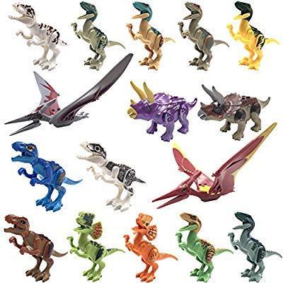 Dinosaur Minifigures Building Blocks Toys - 16pcs Dinosaurs, Dinosaur Mini Figures Playset Toy, Realistic Jurassic World Dinos Toy Set, Dinosaur Party Favors, Educational Toy Gift for Kids