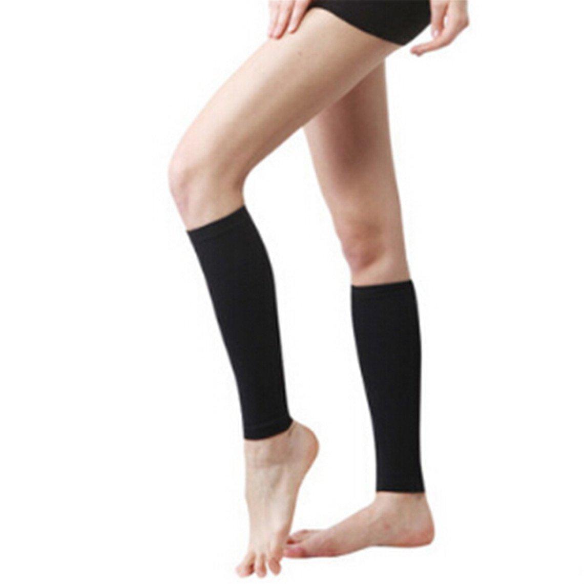 Rurah Leg Sleeves Support Protector Thigh Calf Warmer Socks Pads Legging Stockings for Women Men for Enhanced Circulation, Recovery, Running,black