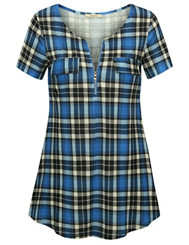 Bebonnie Maternity Blouses for Work, Women's Plaid V Neck Zip up Tunic Tops A Line Casual Loose Fitting Shirt Tops Black Blue XXL Cute Maternity Tops