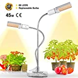 Bozily LED Plant Grow Light for Indoor Plants, 45W Full Spectrum Sunlike Replacement Plant Light with Double Switch, 360 Degree Dual Head Flexible Gooseneck Plant lamp For Sale