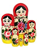"5.5"" Set of 6 Semenov Wooden Russian Nesting Dolls - Matryoshka Stacking Nested Wood Dolls"