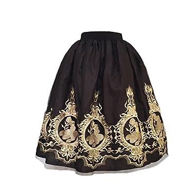 AOMEI Women's Vintage Midi Tulle Embroidery Skirts