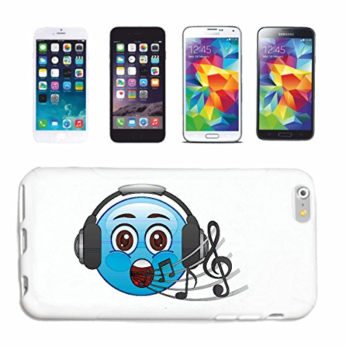 "cas de téléphone iPhone 6+ Plus ""BLEU SMILEY AVEC CASQUE ECOUTE MUSIQUE ""smile EMOTICON APP de SMILEYS SMILIES ANDROID IPHONE EMOTICONS IOS"" Hard Case Cover Téléphone Covers Smart Cover pour Apple iPh"