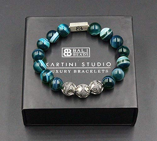 Green Striped Agate Stone Bracelet, Men's Green Agate and Sterling Silver Bali Beads Bracelet
