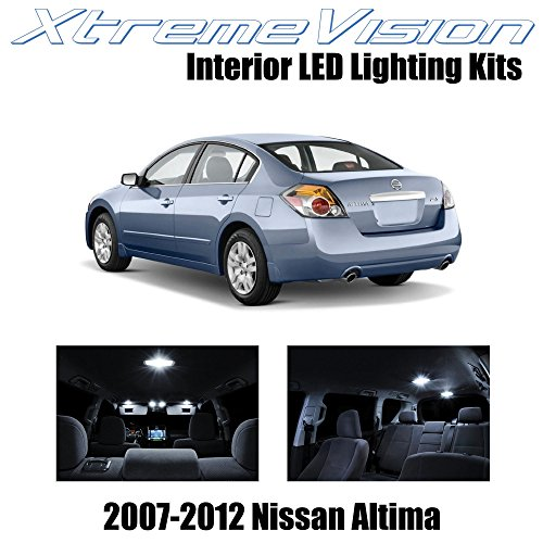 2009 10 Piece - XtremeVision Interior LED for Nissan Altima Sedan 2007-2012 (10 Pieces) Pure White Interior LED Kit + Installation Tool Tool