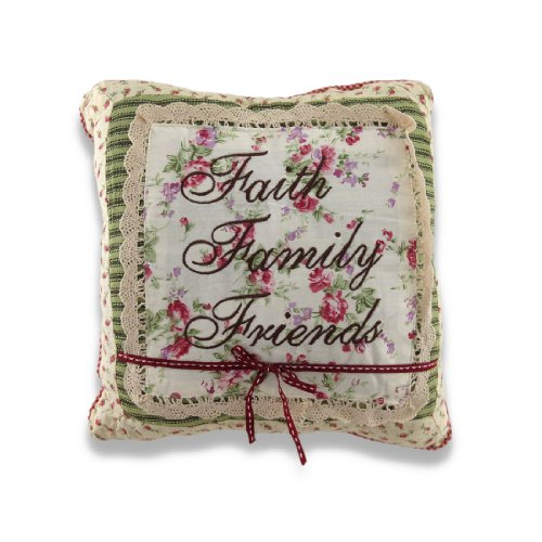 Charming Faith Family Friends Embroidered Square Decorative Throw Pillow 12in. by Things2Die4