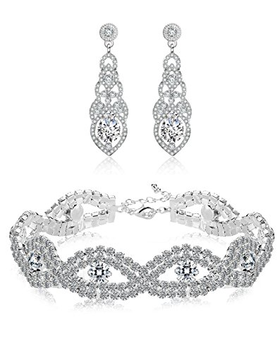 Hanpabum Bridal Wedding Jewelry Set Women Bracelets Dangle Teardrop Earrings Set Women Jewelry Made Clear Crystals (Earings Bracelets) by Hanpabum (Image #7)