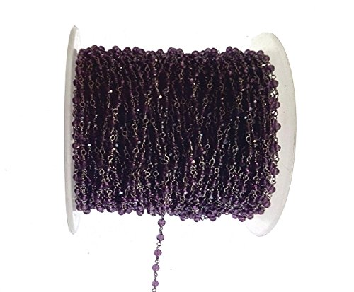 (3 feet Amethyst Oxidized Hydro Quartz Beads 3MM Rosary Style Chain by BESTINBEADS, Hydro Quartz Gemstone Beaded Chain by The Foot, Oxidized Quartz Beads Handmade Jewelry Chain, Necklace Chain)
