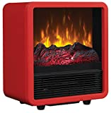 Twin Star Home CFS-300-RED Personal Electric Space Heater Cube with Electric Fireplace, Red For Sale