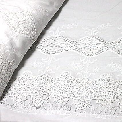 Tela de algodón con bordado inglés de cenefa (Estrella) Color Blanco