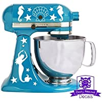 Overly Attached Decals Nautical Mermaid Seahorse Seashells and Starfish Kitchen Stand Mixer Front and Back Decal Set (White)