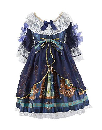 Nite closet Lolita Dress for Women Gothic Clothing Puff Sleeve Lace (Navy, (Sleeves Lolita Dress)