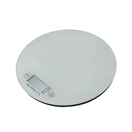 odefc Escala de cocina LCD digital display Balanzas electrónicas de vidrio templado (Color : Blanco