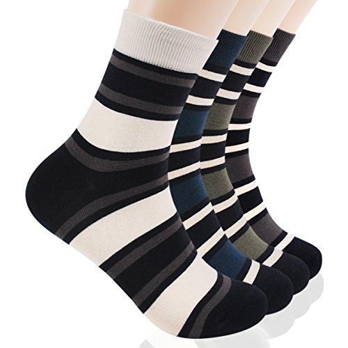 - DearMy Men's Striped Combed Cotton Dress Socks Calf   Classics Dress Flat knit (Strip6-4 Pairs)