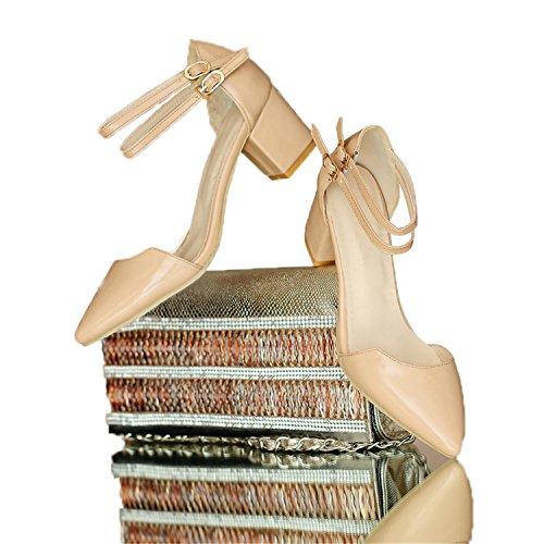 WalterTi Women High thick Heel Sandals Hasp open toe platform sandals work shoes size 35-43 Special offer Beige 6