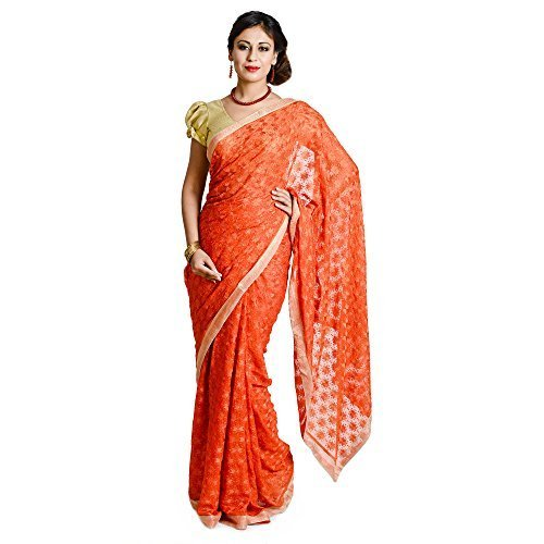 Ethnic Bliss Lifestyles Beautifull Orange Chiffon Selfwork Phulkari Saree by Ethnic Bliss Lifestyles