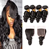 4 Bundles Loose Wave Brazilian Hair With Closure Pieces Bleached Knots Free Part Enclosure Wavy Virgin Hair Weave Bundle 2 Day Shipping 16 18 20 22 + 14 Inches