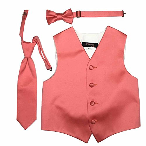 Spencer J's Boys Formal Tuxedo Vest Tie and Bowtie Set Variety Of Colors (5-6, Coral)