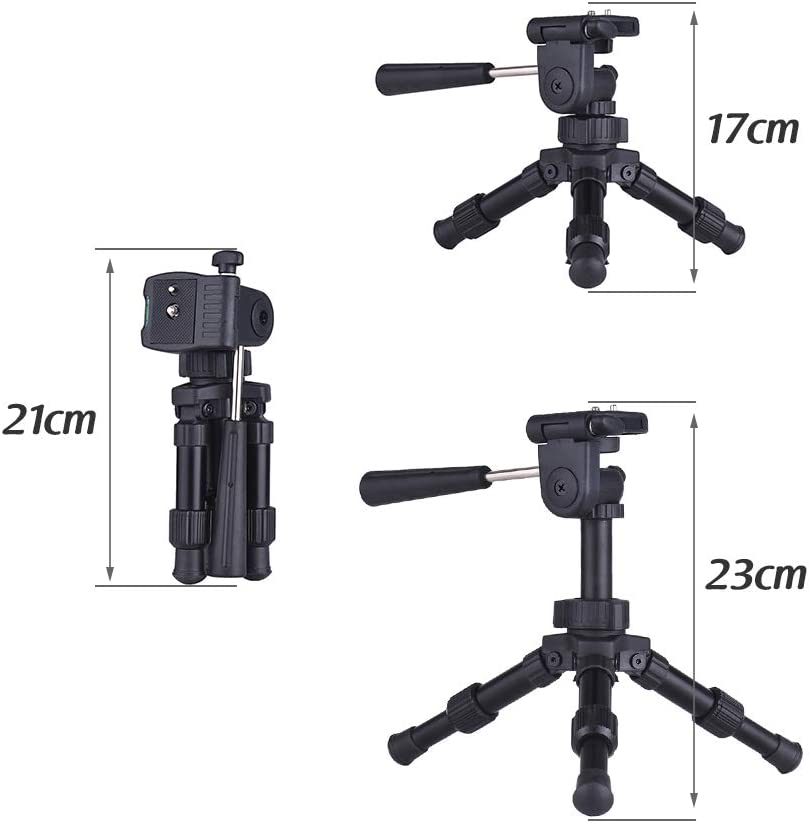 Load 4.5kg for Canon Nikon Sony DSLR RuleaxAsi Portable Lightweight Tabletop Mini Tripod with Pan Tilt Head Max