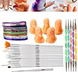 Best Deal Professional Nail Art Accessories Practice Set With 5 High Quality Acrylic Dummy Fingers, Nails Brushes / Stripers / Liners, Colorful Striping Tapes / Stripes Decorations And Dotting Tools / Dotters By VAGA