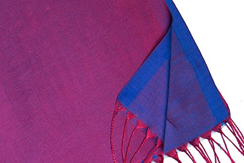 "Opulent Luxury Women Scarf Shawl Wrap Reversible 100% Silk Soft Magenta & Royal Blue 70"" x 28"""