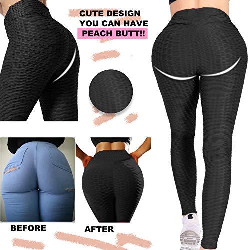 Women\'s High Waist Yoga Pants - Tummy Control Slimming Booty Leggings Workout Running Butt Lift Textured Tights Black