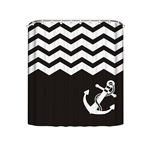 Misshow-Chevron-Anchor-Shower-Curtain-Bathroom-Fabric-Shower-Curtain-Water-Soap-and-Mildew-resistant-72-inch