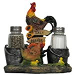 Rooster and Family Glass Salt and Pepper Shaker Set Figurine for Decorative Farm & Rustic Country Kitchen Decor Hen Chicken & Chicks Sculptures and Gifts for Farmers by Home n Gifts