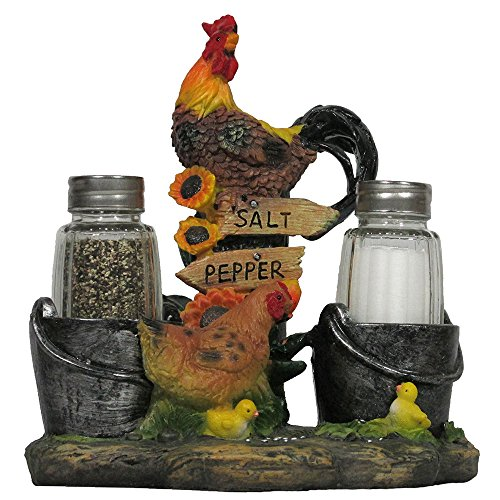 Rooster and Family Glass Salt and Pepper Shaker Set Figurine for Decorative Farm & Rustic Country Kitchen Decor Hen, Chicken & Chicks Sculptures and Gifts for Farmers by Home-n-Gifts
