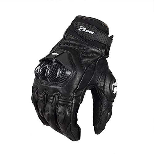 Wisamic Leather Motorcycle Gloves with Carbon Fiber Air Flow for Men and Women - Black (XL)