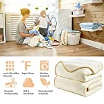 DREAMFLYLIFE-Luxury-Fleece-Blanket-380GSM-Summer-Thick-Blanket-Super-Soft-Blanket-Bed-Warm-Blanket-Couch-Blanket-for-All-Season-Ivory-Queen-Size-90×90-in