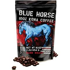 Blue Horse Farm-direct: 100% Kona Coffee, Dark Roast Coffee Beans (Whole)