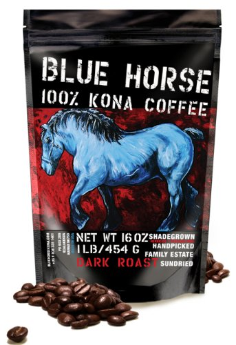 Farm-direct: 100% Kona Coffee, Dark Roast, Whole Beans, 1 - Blue Horse Coffee